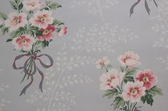 1940's Vintage Wallpaper Pink and White Floral by RosiesWallpaper, $14.00