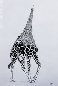 Rare Unique Animal Series By: The21Night  - Eiffel Giraffe  ►https://www.behance.net/the21night ◄  #Illustration #Art #Elephant #Paris #Drawing #Giraffe #Surreal #Arquitecture #Animals