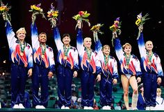 """1996 Olympics USA's Magnificent Seven, Amanda Borden, Dominique Dawes, Amy Chow, Jaycie Phelps, Dominique Moceanu, Kerri Strug and Shannon Miller. You know that Kerri Strug vault made you all """"and I'm proud to be an American!""""..."""