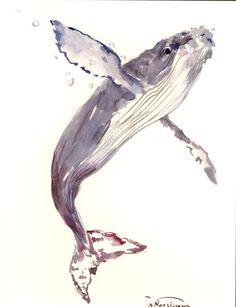 Humpback Whale Painting, original watercolor painting, 12x 9 in, whale art, ocean sea wrold animal art