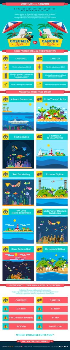 Cozumel vs. Cancun #infographic #Travel