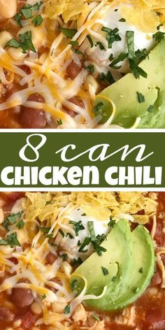 8 can chicken chili is a quick & easy dinner that be ready in no time at all. You literally dump 8 cans into a soup pot plus seasonings! Easy Chicken Chili, Can Chicken Recipes, Chicken Taco Soup, Soup Recipes, Cream Cheese Chicken Chili, Pasta Recipes, Healthy Chili Recipes, Cheese Recipes, Yummy Recipes
