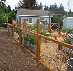 So we'll this list with a basic structure of top and bottom slats and wire in between. No panels, no designs, no fuss. This fence does its job and serves its purpose but you can spruce it up with a nice coat of stain to match your house or personal taste.