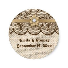 Brown lace, linen burlap wedding Save the Date Stickers