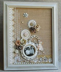 """PrachuPrachuFinnabair Framed """"Mixed Media Canvas"""" by Delaina Burns for Prima Finnabair - Wen.Finnabair Framed """"Mixed Media Canvas"""" by Delaina Burns for Prima Finnabair - Wendy Schultz ~ Art CanvasEvening Sleigh - Sam Timm Christmas Scenes, Doilies Crafts, Burlap Crafts, Diy And Crafts, Button Art, Button Crafts, Doily Art, Vintage Crafts, Home And Deco, Mixed Media Canvas"""