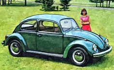 Oil painting of a girl stood next to 1968 VW Beetle 1500.