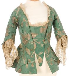 Interesting that the stomacher isn't fussy cut, made from what was left over. Jacket, green silk jacquard, century From IMATEX 18th Century Dress, 18th Century Costume, 18th Century Clothing, 18th Century Fashion, Historical Costume, Historical Clothing, 1700s Dresses, Vintage Outfits, Bodies