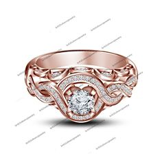 14K Rose Gold Over 925 Silver White CZ Disney Princess Mulan Engagement Ring 5 6 #SolitairewithAccents