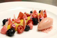 Creme Brulee, Berries, Rhubarb Meringue, Raspberry Foam, Rhubarb Sorbet by Pastry Chef Antonio Bachour