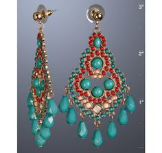 These turquoise and red earrings look so fun and vibrant #jewelery
