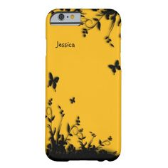 Saffron Yellow Butterfly Garden Personalized Barely There iPhone 6 Case #zazzle