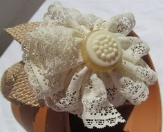LACE & BURLAP FLOWER Head Band for Girl Infant Child by hmgreer, $12.99