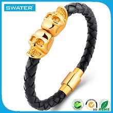Alibaba Website Leather Bracelet Wholesale Skull Bracelet For Men