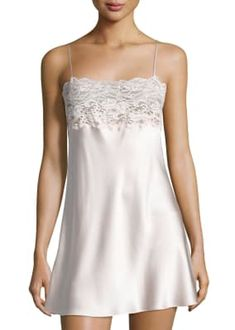 Bijoux Lace-Band Silk Chemise by Christine Lingerie at Neiman Marcus Ropa Interior Babydoll, Actrices Sexy, Silk Chemise, Jersey Skirt, Black Lace Tops, Straight Skirt, Beautiful Lingerie, Night Gown, Lace Trim