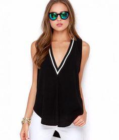 a25944b54c3f New Fashion Summer Fashion V Neck Loose Sleeveless Blouse Free Shipping  WorldWide Oneshopexpress.com V