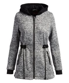 6461078cf8b50b Take a look at this Heather Gray Melange Contrast-Hood Anorak - Plus Too  today