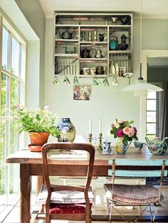 mismatched chairs, vintage Those dangling teacups are a disaster waiting to happen, but this is adorbs.