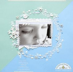 Color Challenge: Lily White with Melinda from Doodlebug Design - LOVE her STUNNING layout, SO MUCH DELIGHTFUL detail and such a BEAUTIFUL design