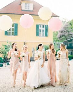 mismatched pink and peach bridesmaid dresses #tulleandchantilly