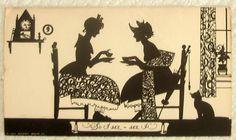"Vintage 1929 Buckbee Brehm Silhouette Classic 'So I SEZ."" Ladies wTea & Kitty."