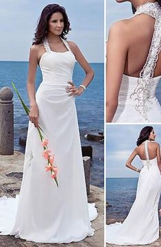 67e870872e38 Empire V-neck Court Trains Sleeveless Chiffon Beach Wedding Dresses for  Brides