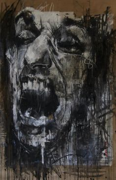Guy Denning (English self taught contemporary artist/painter based in France. He is the founder of The Neomodern Group and part of the urban art scene in Bristol. Abstract Portrait, Portrait Art, Portraits, A Level Art, High Art, Life Drawing, Urban Art, Dark Art, Art Inspo