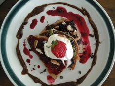 YUM! Really healthy treat. Buckwheat pancakes using a cacao-avocado-honey mouse with The Grainge Raspberry Jam, boysenberry swirl, almonds, pistachios and a bit of cheeky ice cream!