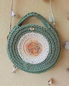 REJAdekor / BOHO BAG Mandala Straw Bag, Knit Crochet, Mandala, Boho, Knitting, Rugs, Crocheting, Decor, Fashion