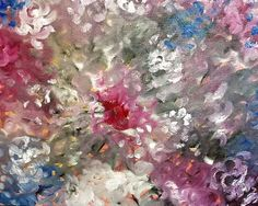 Oil Painting Flowers On Canvas- Pink Roses-Rose Painting Abstract- Pink Flower Art- Floral Wall Decor- Flowered Wall Art- Original Art #flower#painting#homedecor
