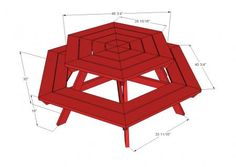 Free plans to build a hexagon shaped picnic table. Features six large bench seats and hexagon top, updating the casual classic into a more user-friendly backyard fav! Octagon Picnic Table Plans, Round Picnic Table, Picnic Table Bench, Octagon Table, Diy Outdoor Furniture, Diy Furniture Plans, Cheap Furniture, Kids Picnic, Do It Yourself Furniture