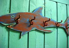 """Shark Coat Rack Red Blue Beach House Decor Wall by CastawaysHall, $74.00/ $21 US ship. Can also be done in any colors you'd like! He has 5 hooks for hanging up your stuff & can be finished to point either way. Just let me know the direction to point & your color in the notes at the time of purchase! Comes ready to hang. 30 - 32"""" long, 12 - 14"""" from the top of his fin to the tip of his bottom fin. MADE TO ORDER. Please allow up to 10 days to complete."""