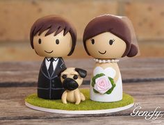 Cute wedding cake topper Bride and Groom with pug by GenefyPlayground