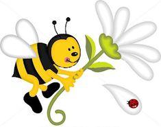 Illustration of Bee digital collage vector art, clipart and stock vectors. Art Clipart, Vector Art, Cute Bee, Portfolio, Digital Collage, Tweety, Printable Art, Disney Characters, Fictional Characters