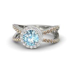 Round Aquamarine 14K White Gold Ring with White Sapphire and Smoky Quartz   Maeva Ring   Gemvara