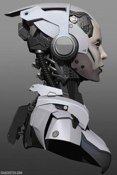 mech girl by Isaac Oster Based on this concept from Darren Bartley. Arte Robot, Robot Art, Dragons, Robots Characters, Robot Concept Art, Ex Machina, Cyberpunk Art, Science Fiction Art, Tecno