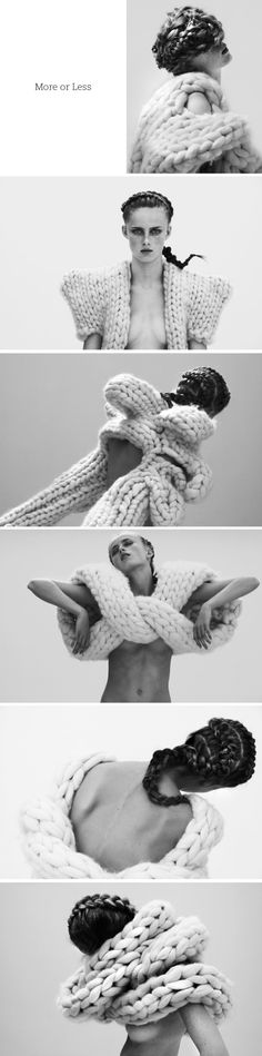 Sculptural Fashion - 3D knitwear using chunky wool to experiment with voluminous knitted & braided structures // Nanna van Blaaderen 3d Fashion, Knitwear Fashion, Knit Fashion, Fashion Trends, Fashion Design, High Fashion, Chunky Knitwear, Chunky Wool, French Plaits