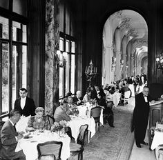 """""""Putting on the tea at the Ritz"""" What a fun thing to say. Here we have High Tea at the Ritz, Paris, 1957 The Ritz Paris, Old Paris, Vintage Paris, Vintage Travel, Vintage Tea, Paris Hotels, Old Photos, Vintage Photos, Monuments"""
