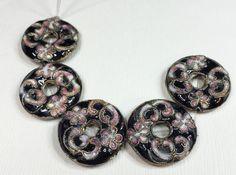 BLACK CLOISSONE DONUT Beads by CoseBelleByMaria on Etsy
