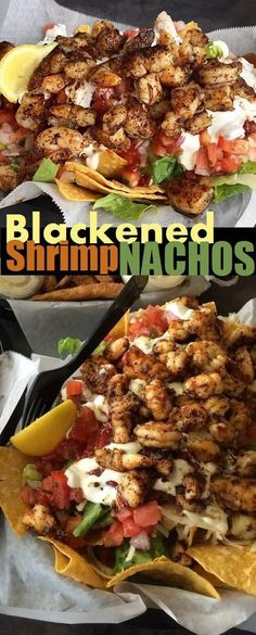 Blackened Shrimp Nachos from Safe Harbor Seafood Market and Restaurant. (no reci… - Seafood Fish Recipes, Seafood Recipes, Mexican Food Recipes, Cooking Recipes, Healthy Recipes, Nacho Recipes, Recipies, Seafood Boil, Dessert Recipes