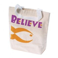 """Religious Tote Bag - The Christian fish symbol and the word """"Believe"""" decorate this natural canvas tote bag.  The small size and value oriented price make these great for VBS favors or Children's sermon giveaways.  Or us this as a gift bag to give  a child their first bible.  Made of sturdy canvas.  Size 8 1/4"""" W. x 8 1/2""""T.  White Nylon handles are 4"""" T.  U.S. Toy Exclusive! - $11.99"""