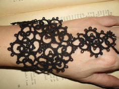 Tatting (Frivolite) Slave Bracelet - Tatted Black Lace Bracelet