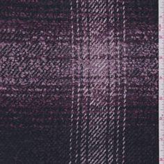 Purple Plaid Wool Boucle Coating
