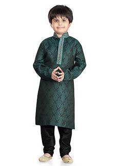 Green Jacquard Art Silk Kids Kurta Pyjama