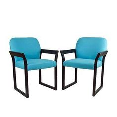 Blue Linen Mid-Century Arm Chairs - A Pair