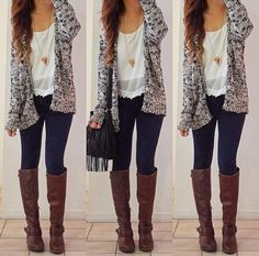 Open Knit Pocket Cardigan White shirt  Black Leggings   Buckle Riding Boot| follow me if u like or repin this
