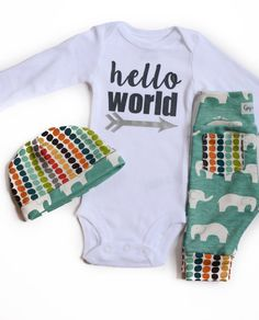Newborn Baby coming home outfit elephant theme - hello world, baby shower gift, coming home outfit new baby boy going home outfit Baby E, New Baby Boys, Baby Kids, Baby Going Home Outfit, Elephant Theme, Elephant Baby, Baby Coming, Cute Baby Clothes, Babies Clothes