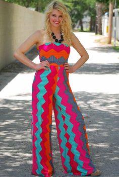 Not Your Average Girl Jumpsuit #chevron #summer #color #love - JC's Boutique - www.SHOPJCB.com