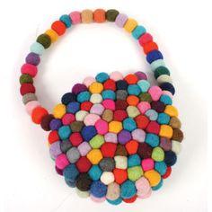 £15.00 Funky felt bobbles purse with handle, handmade in Nepal.  #Fairtrade #Felt #Purse #Nepal #Funky