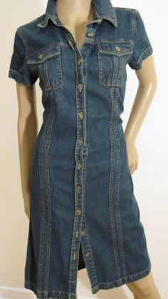 CHARTER CLUB DENIM BUTTONDOWN 2 POCKET DISTRESSED DENIM JEAN DRESS SZ 6 #CharterClub