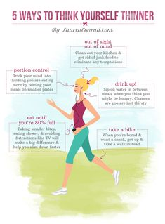 Slim Tip: 5 Ways to Think Yourself Thinner! #fitness #beauty #health
